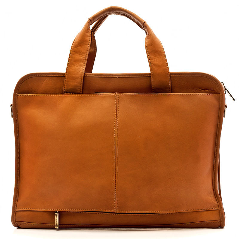 Muiska - Milan - Leather Slim Portfolio Laptop Briefcase has an opening to attach to handle of carry-on luggage