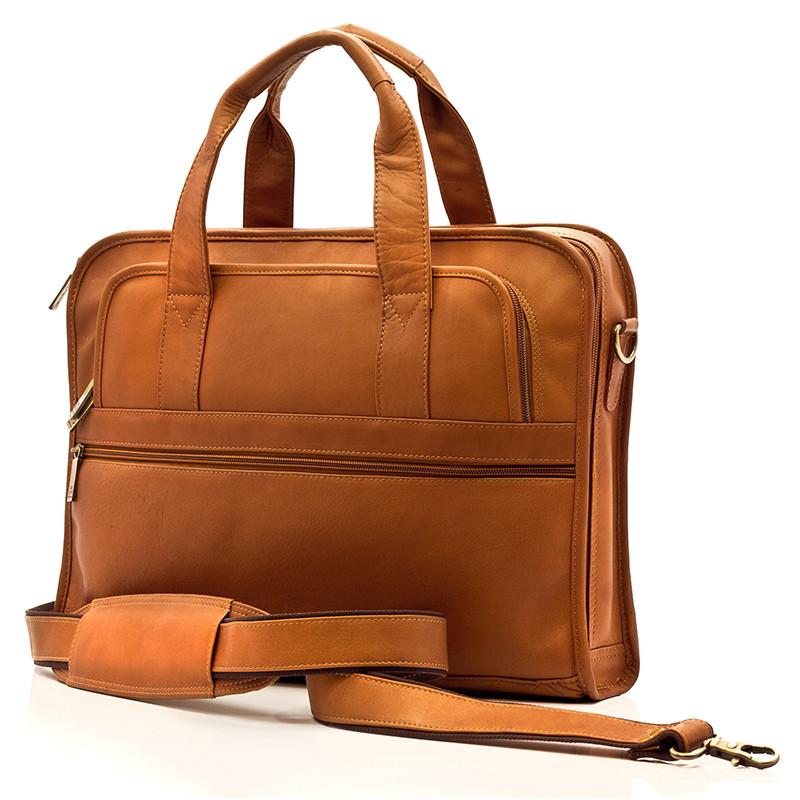 Muiska - Milan - Leather Slim Portfolio Laptop Briefcase - Front View, Saddle