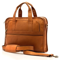 Muiska - Milan - Leather Slim Portfolio Laptop Briefcase - Front View, Saddle