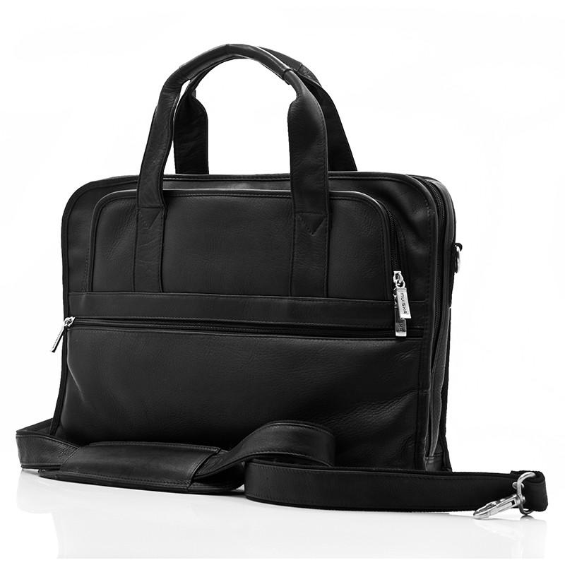 Muiska - Milan - Leather Slim Portfolio Laptop Briefcase - Front View, Black