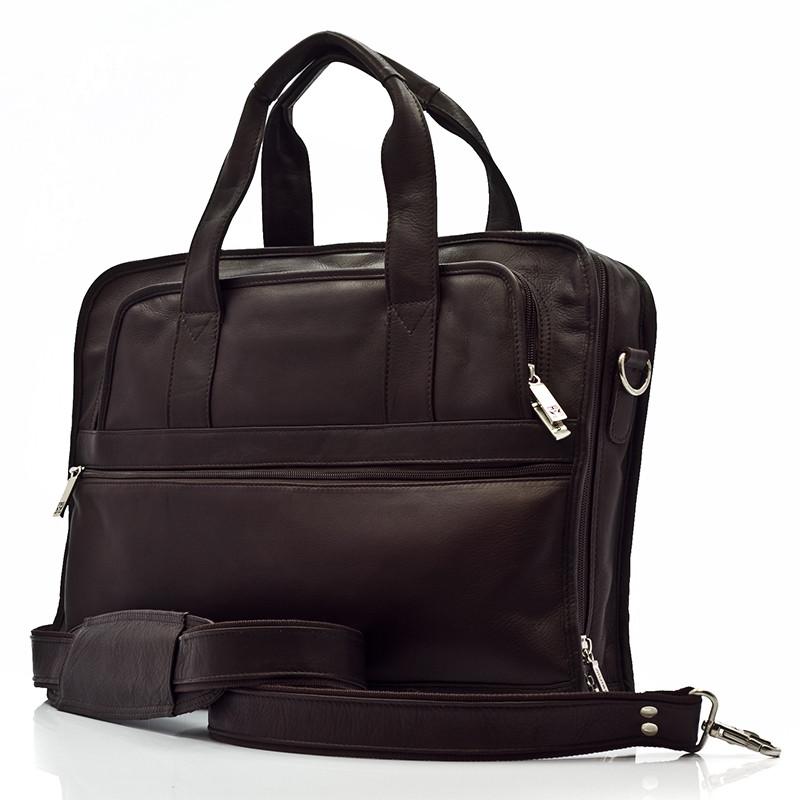 Muiska - Milan - Leather Slim Portfolio Laptop Briefcase - Front View, Brown