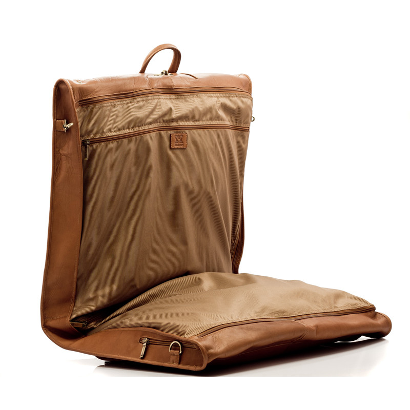 Havana - Carry All Garment Bag - Side Open View, Saddle
