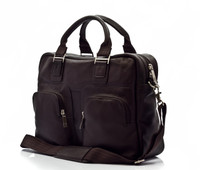 Muiska - Cairo - Multi-Purpose Leather Computer Briefcase - Front View, Brown