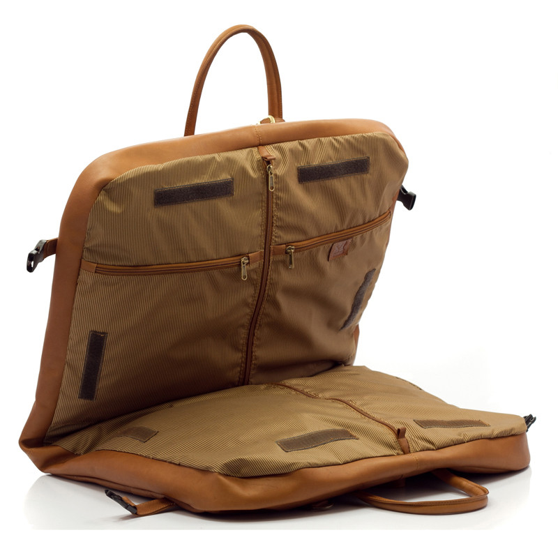 Rome - Lightweight Garment Bag - Side Open View, Saddle
