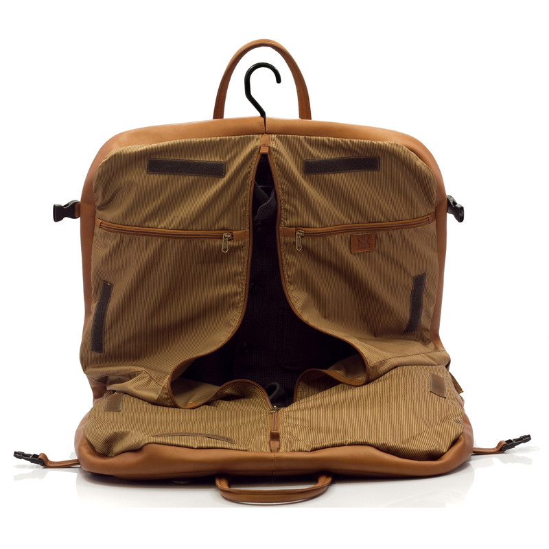 Rome - Lightweight Garment Bag - Front Open View, Saddle