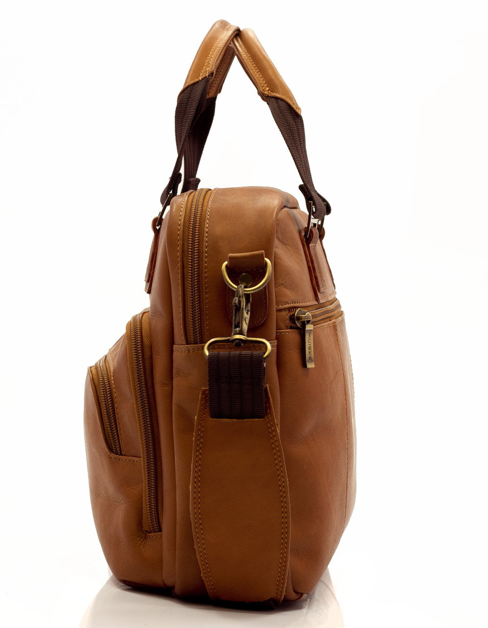 Muiska - Paris - Leather Laptop Briefcase - detachable and adjustable strap