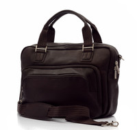 Muiska - Paris - Multi-Purpose Leather Computer Briefcase - Front View, Brown