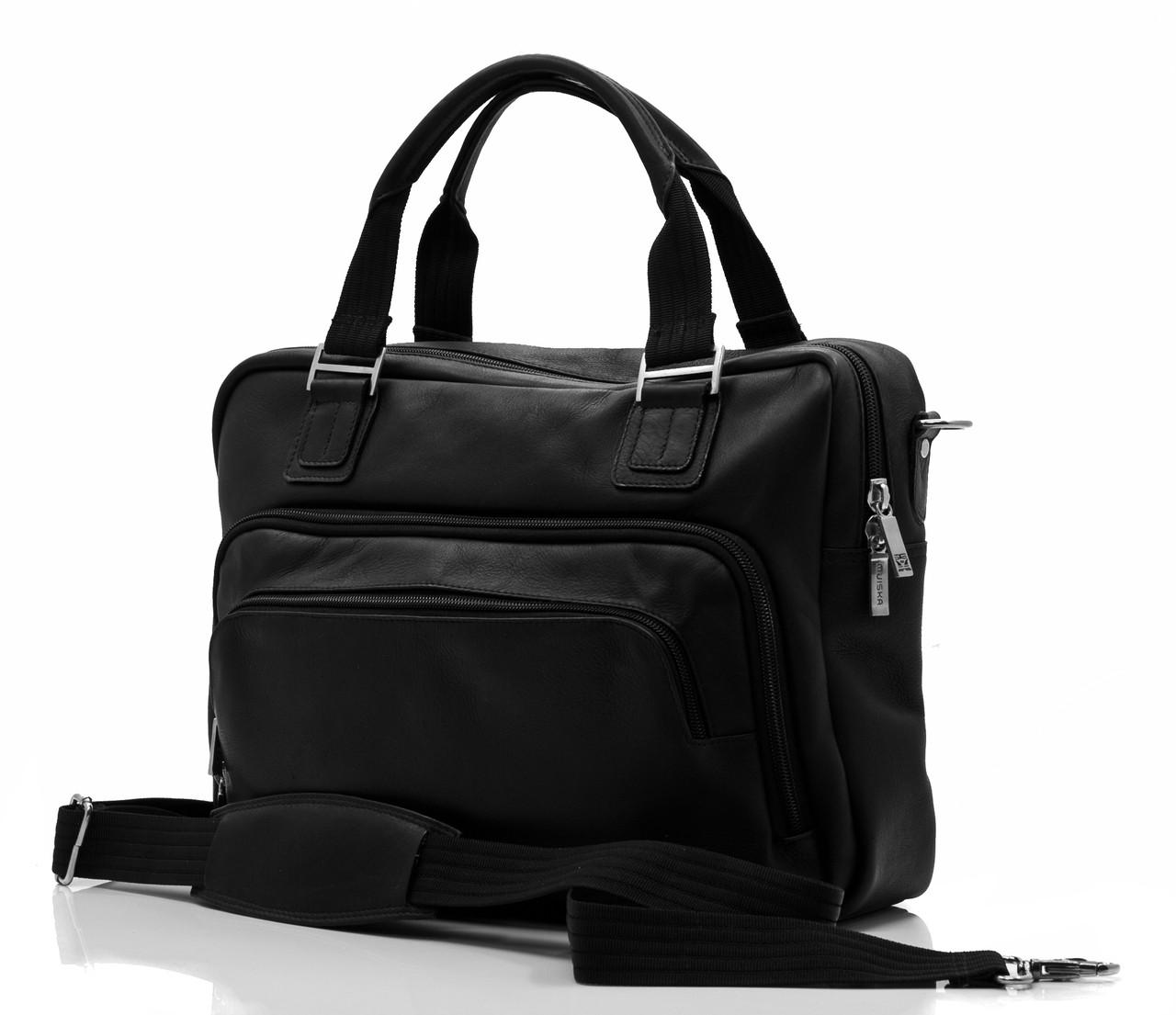 Muiska - Paris  - Multi-Purpose Leather Computer Briefcase - Front View, Black