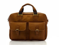 Muiska - Vienna - Multi-Purpose Leather Computer Briefcase - Front View, Saddle