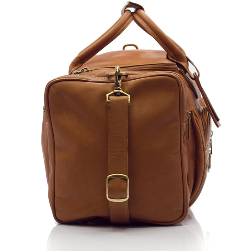 Muiska - New York - 22-inch Executive Duffel Bag has reinforced leather handles, and an adjustable and detachable all leather shoulder strap