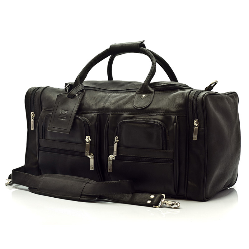 Muiska - New York - 22-inch Leather Weekend Duffel Bag with Pockets in Black