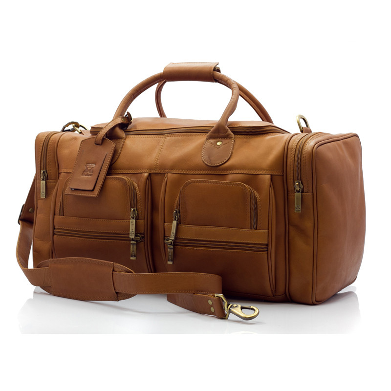 Muiska - New York - 22-inch Leather Weekend Duffel Bag with Pockets in Saddle