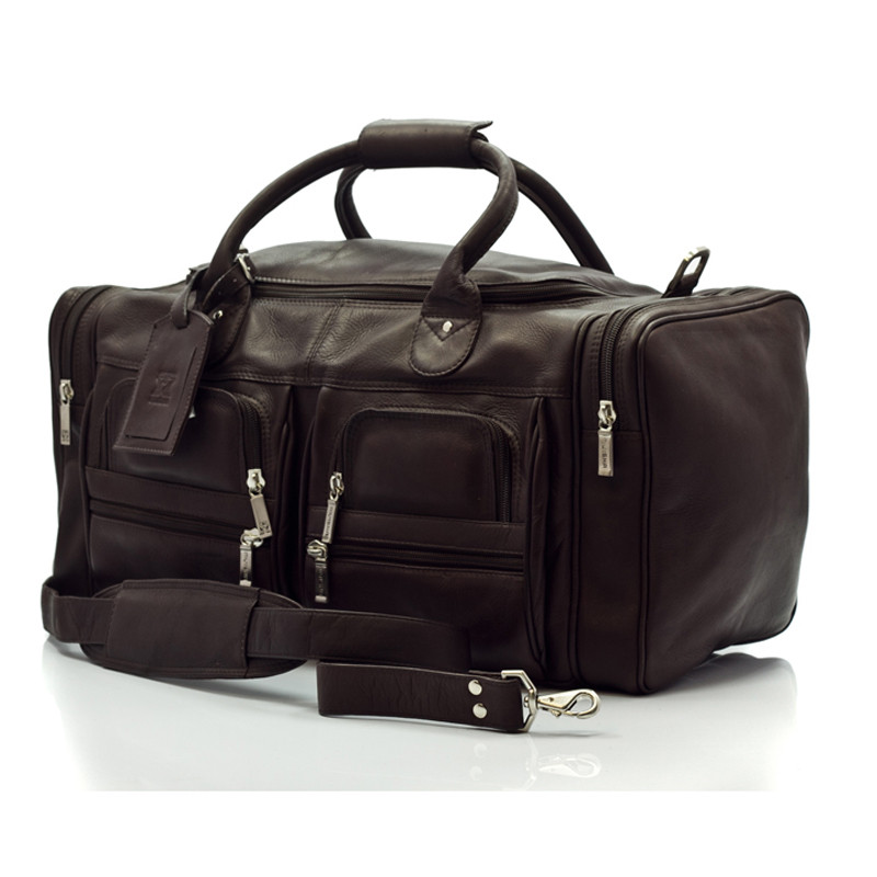 Muiska - New York - 22-inch Leather Weekend Duffel Bag with Pockets in Brown
