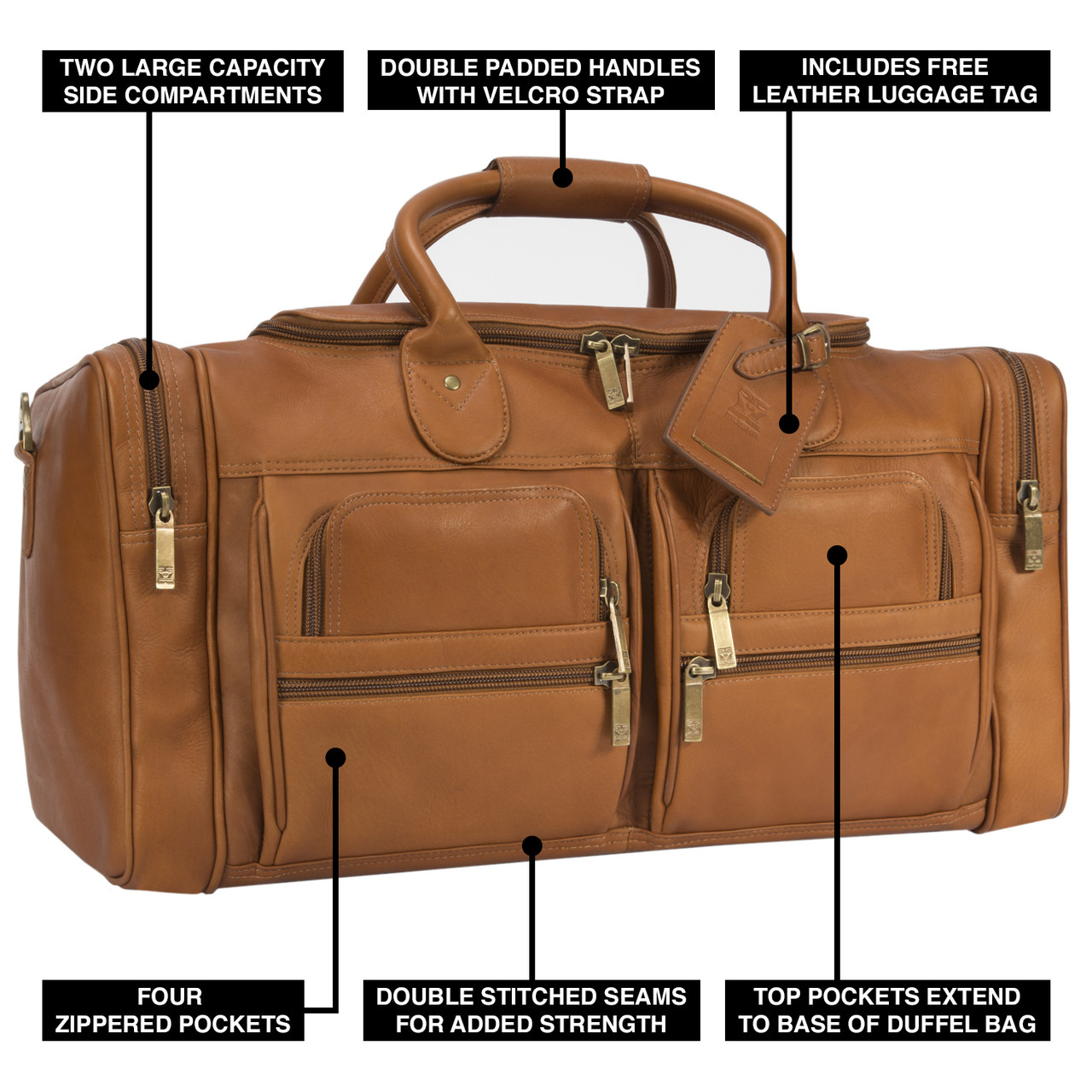Muiska - New York - 22-inch Leather Weekend Duffel Bag features two large front pockets with two zippered pouches