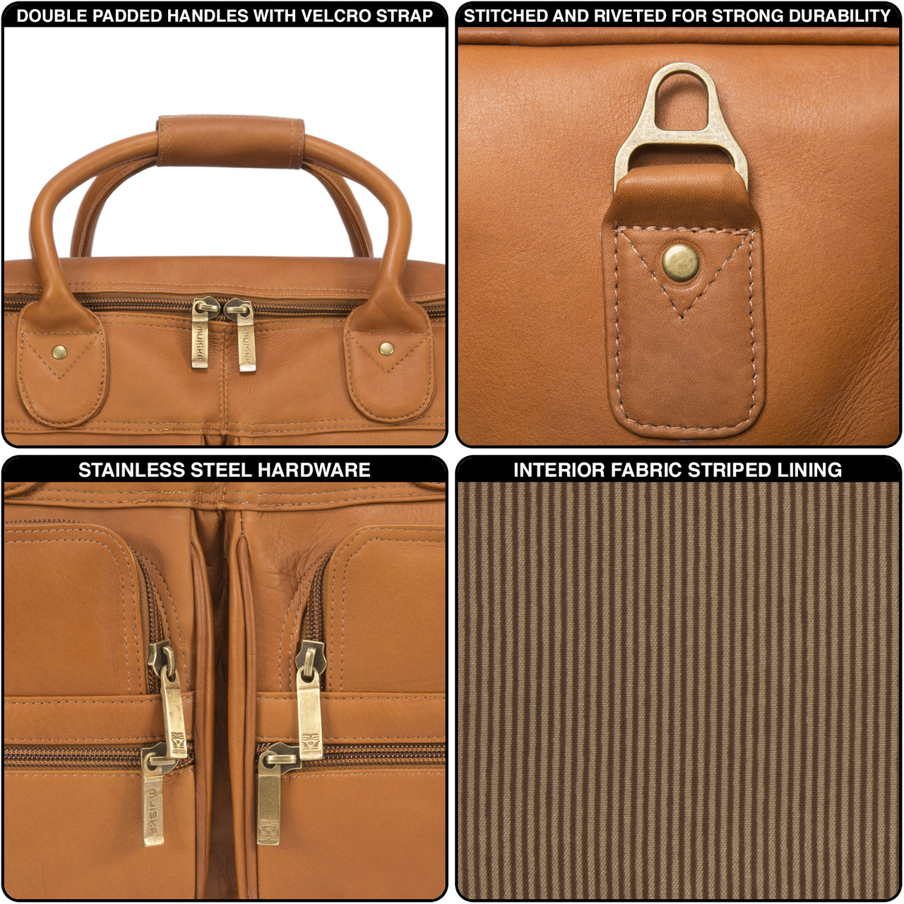 Muiska - New York - Leather Weekend Bag has stainless steel hardware and double stitched seams