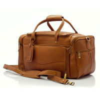 Muiska - Hugo - 20-inch Leather Carry On  Duffel Bag - Front View, Saddle
