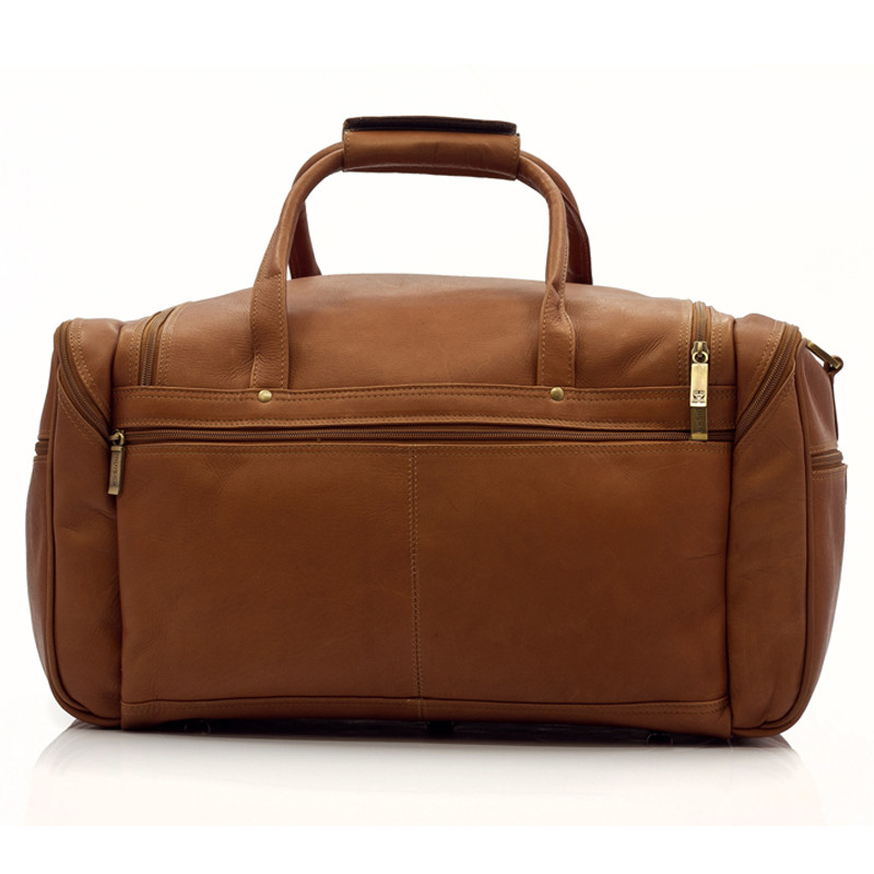 Muiska - Hugo - 20-inch Leather Carry On Duffel with stylishly constructed zippered back pocket.