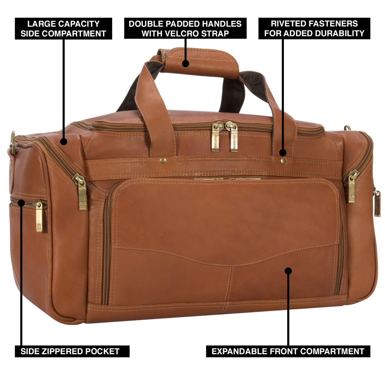 Muiska - Hugo - Leather Carry On Travel Bag features a large zippered  front compartment