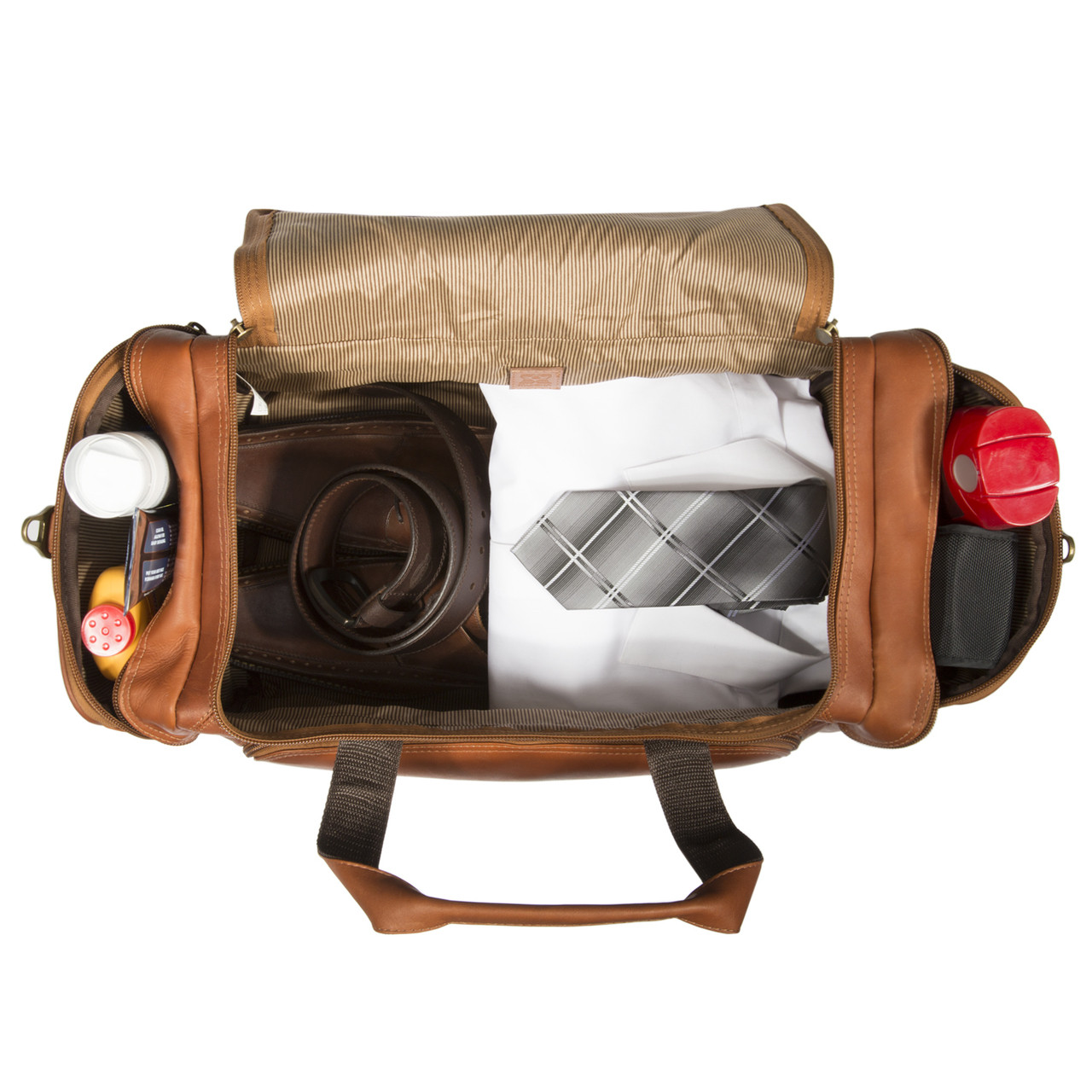 Muiska - Hugo - Leather U-shaped Duffel Bag features a spacious main compartment with fabric lining