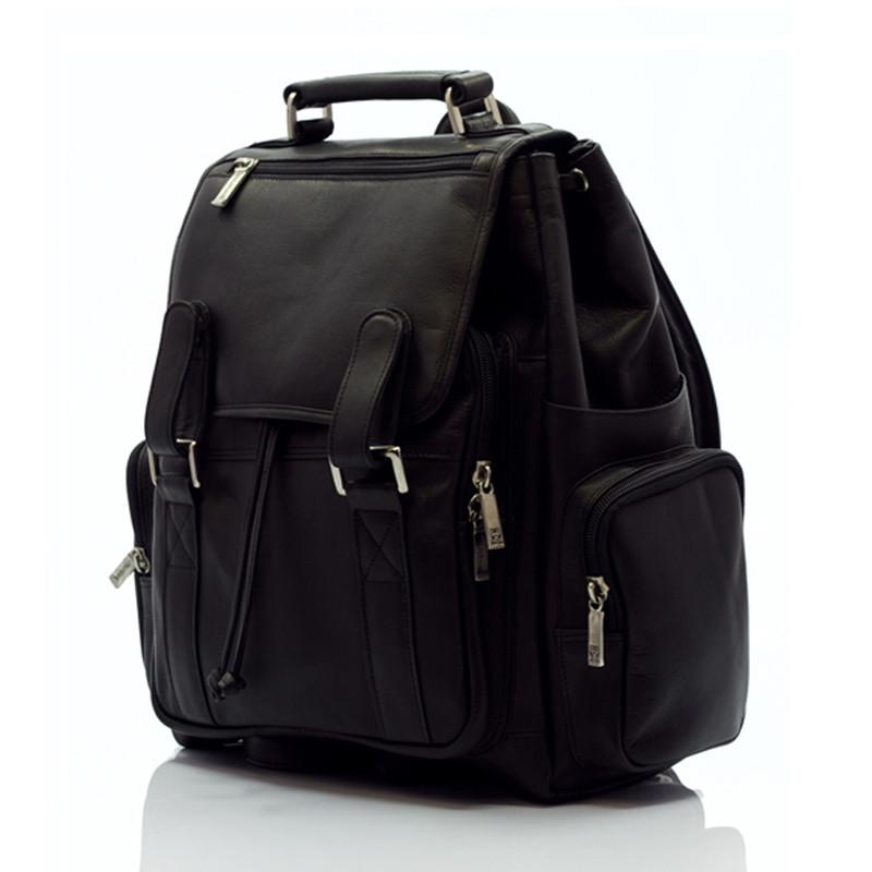 Muiska - Raffael - Classic Leather Laptop Commuter Backpack - Front View, Black