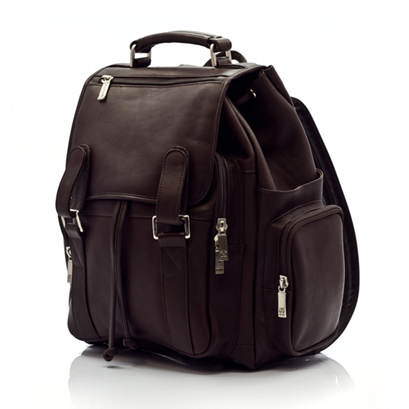 Muiska - Raffael - Classic Leather Laptop Commuter Backpack  - Front View, Brown