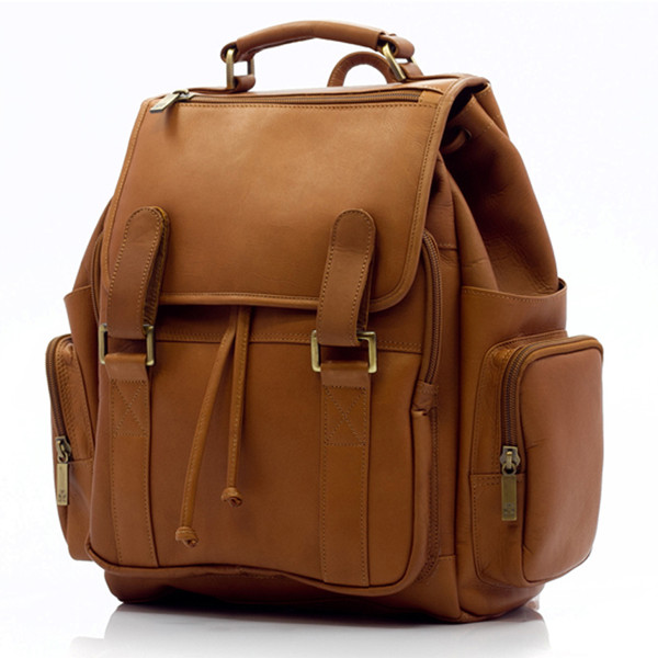 Muiska - Raffael - Classic Leather Laptop Commuter Backpack - Front View, Saddle