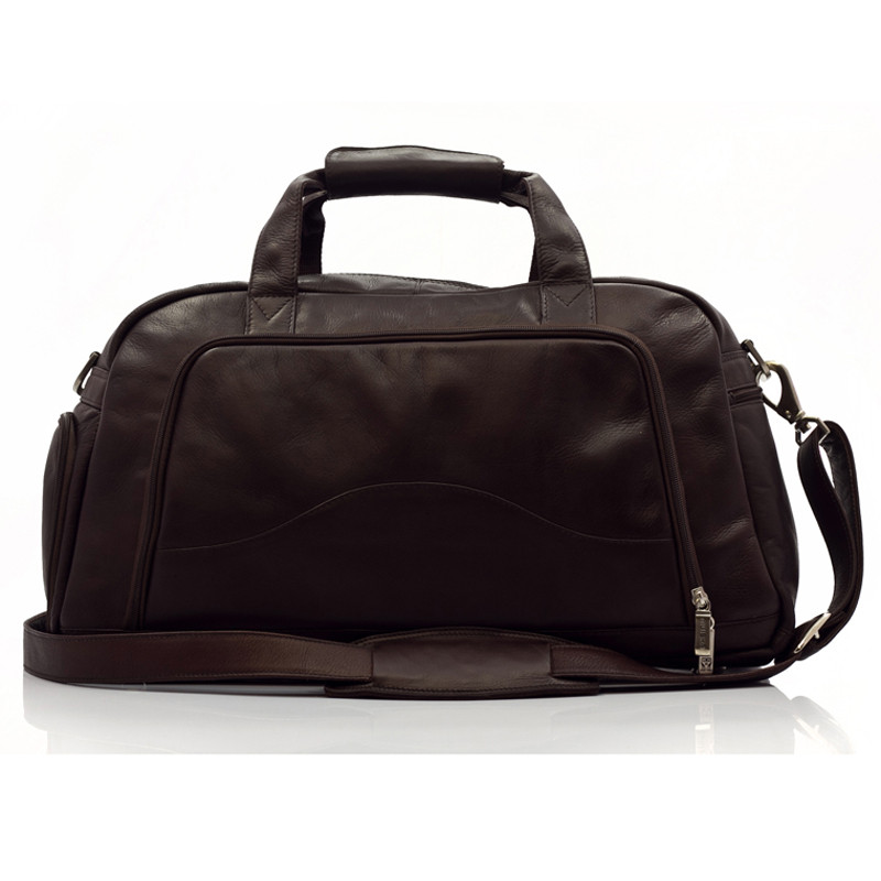Muiska - Luis -Leather Duffle Bag - Front View, Brown