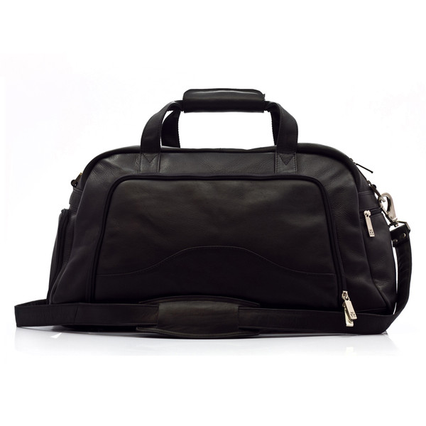 Muiska - Luis - Leather Carry On Weekender Duffle - Front View, Black