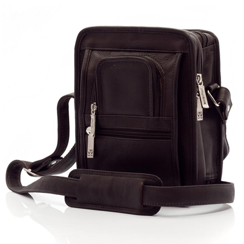 Muiska - Daniel - Men's Leather Crossbody Bag - Front View, Brown