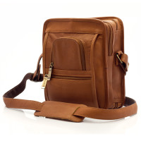 Muiska - Daniel - Men's Leather Crossbody Bag - Front View, Saddle