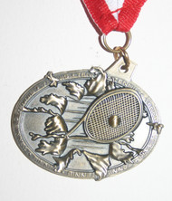All State Tennis medal front with red/white/blue neck ribbon