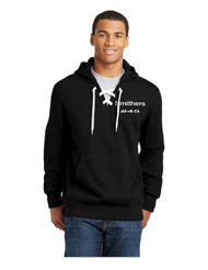 Black Sport-Tek®  9-ounce, 65/35 ring spun combed cotton/poly fleece  Design printed on back Personalization on left Chest optional Name / number example Jones #24Lace Hoodie with name & number