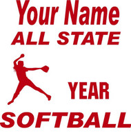 Red Decal All State Softball