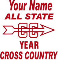 Red Decal All State Golf Cross Country