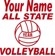 Red Decal  All State Volleyball