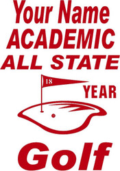 Red Decal Academic All State Golf