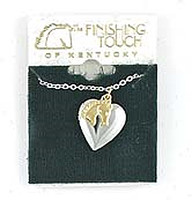 Silver Locket with Gold Horsehead Charm