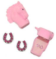 Pink Horseshoe Earrings in Horse Head Gift Box