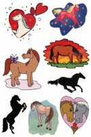 Body Brands Temporary Horse Tattoos: Multi-Color Ponies and Hearts