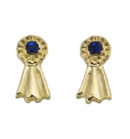 Gold Blue Ribbonn Earrings