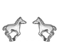 Silver Running Pony Earrings