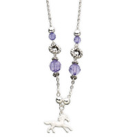 Bead & Enamel Horse Charm Necklace, Purple