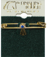 Gold Blue Ribbon Stock Pin