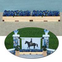 Flower Box with Blue Flowers for Model Horse Jumps