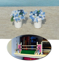 Flower Pots with Blue Flowers for Model Horse Jumps