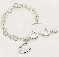 I Love Horses Toggle Bracelet with Horse Shoe and Mother of Pearl, Silver