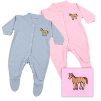 Baby Sleep Suit, Equine Couture, Light Blue and Light Pink