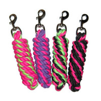 Hot Color Striped 6' Cotton Lead Ropes