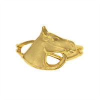 Gold Large Bridled Horse Head Adjustable Ring from Finishing Touch