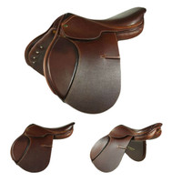 "Bevals Devon Padded Flap Saddle, Caramel, 16"", Wide Tree, Standard Flap"